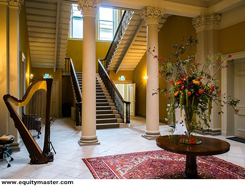 The granite staircase at Woodlock House